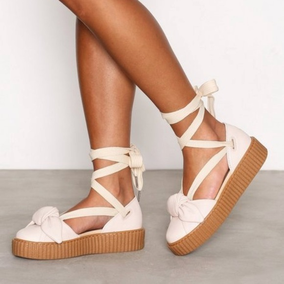 a26dedf5d0a0 Fenty x Puma Bow Creeper Platform Lace Up Sandals.  M 5ac1612a3800c549554dfd16